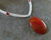 Red Vein Agate Hemp Necklace, Fire Crab Agate Gemstones, Natural Beauty, White Hemp, Gemstone Jewelry, Gift for Her, Free Shipping USA