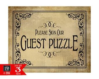 PRINTABLE Guest Puzzle Wedding sign - Please sign our guest puzzle - Vintage Black Tie design  - wedding signage