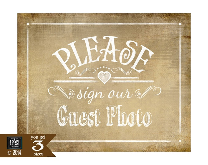 PLEASE sign our GUEST PHOTO Printable Vintage Wedding sign - instant download digital file - Vintage Heart Collection - guest bookk