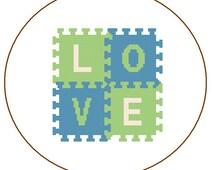 Modern Cross Stitch Pattern Love Puzzle modern green blue nerdy geeky Text wall art gift wall decor valentine