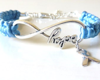 Prostate Cancer HOPE Awareness Charm Infinity Bracelet With Optional Hand Stamped Alphabet Letter Charm