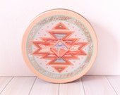Round Southwestern/Aztec Design Tin with Cactus Picture