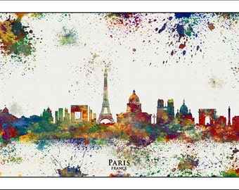 PARIS City Skyline,Paris, Map of Paris, France, Paris Print, Paris Poster, Eiffel Tower, Watercolor Map, French Art