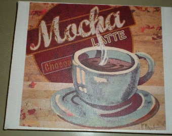 SALE**Vintage Kitchen Canvas Print - Mocha Latte - Canvas size 20.3 x 25.4cm - Hand Made