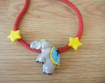Flying Colors Ceramic Elephant + Stars Necklace