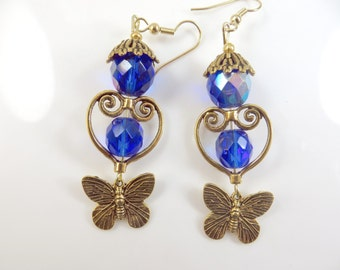 Blue and gold butterfly earrings