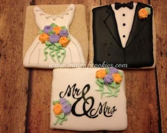 Bride and Groom decorated cookies Wedding Bridal Shower
