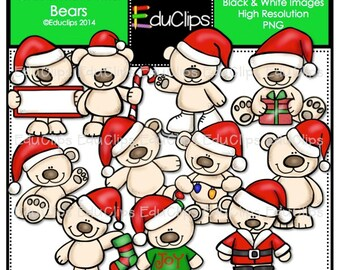 Christmas Polar Bears Clip Art Bundle