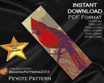 Peyote Pattern Bracelet Cuff Beading Miyuki Delica Size 11 Beads - PDF Download - Cardinal Bird