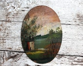vintage oil painting on wood oval Green fields and plains