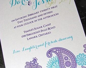 Persian Paisley design in Aqua Wedding Invitation suite
