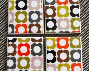 Orla Kiely patterned ceramic drinks coasters, Scandinavian design coaster set