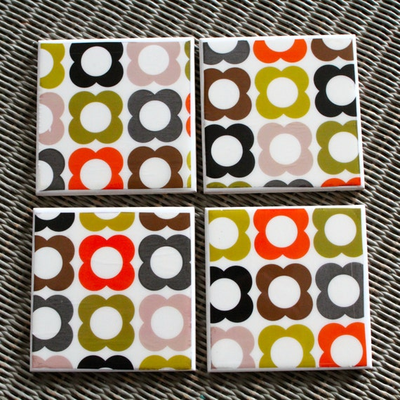 Orla Kiely Patterned Ceramic Drinks Coasters Scandinavian