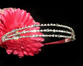 rhinestone headband, crystal wedding headband, wedding headpiece, prom headband, tree row rhinestone headband