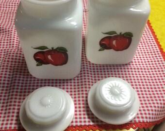 Set of (2) Milk Glass Jars with Apple Decals
