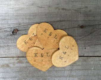 Personalized Rustic Wooden Heart Favor, Rustic Wedding Favor, Thank You Tags, Save the Date , Wishing Tree Tags, Guest Favor, Set of 20