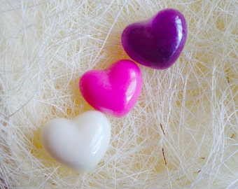 50Bulk Mini Heart Soaps-Choose Color&Scent/Party favors/Love/Scented/Glycerin/Heart/Guest/Sweet16/Bachelorette/Bridal/Wedding/Valentines Day