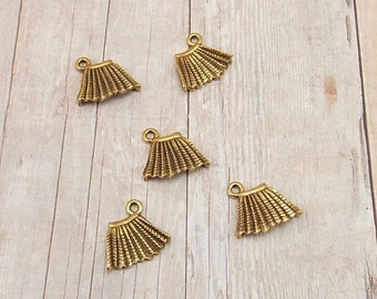 Set of 5 Gold Pewter Charms - Pleated Skirt - Clothing