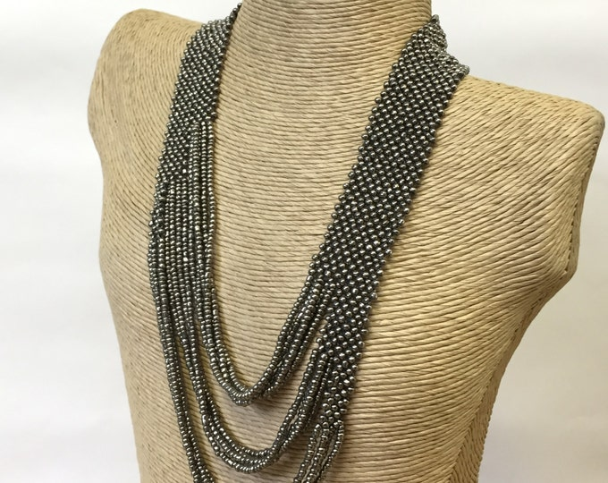 Multi-strand seed bead, handmade, layering necklace