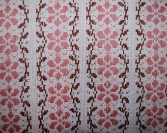 70's woven light red flower table cloth