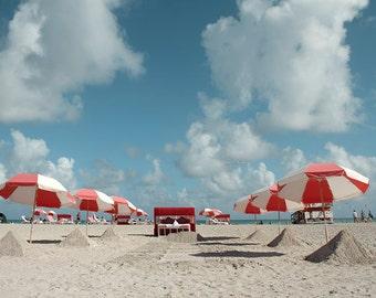 Beach Umbrella Photography  Nautical art decor Miami Beach Florida
