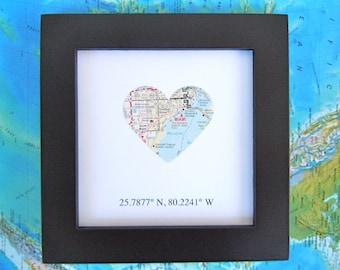 Framed Map with GPS Coordinates - Customized - 5x5 Frame - Map Coordinates - Map Heart - Gallery Wall Art - Graduation Gift - Wedding Gift