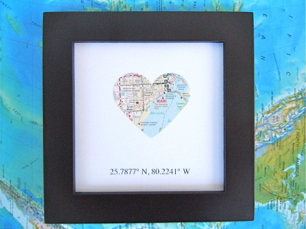 Framed Map With Gps Coordinates Customized 5x5 Frame Map
