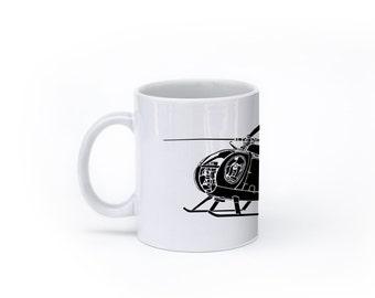 KillerBeeMoto: U.S. Made Hughes OH Cayuse Helicopter On Coffee Mug (White)