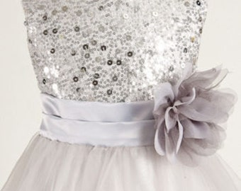Silver Sequin Flower Girl Dress   silver sequin dress Junior Bridesmaid Wedding Holiday Birthday Girls Dress - Flower Girl DResses
