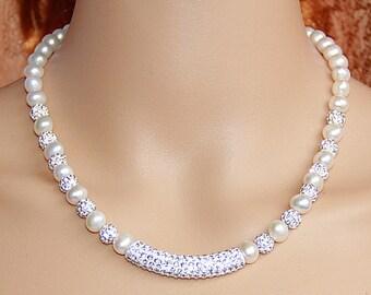 Pearl and rhinestone necklace,shamballa necklace,sparkle necklace,freshwater pearl necklace,bridesmaid necklace,bridal necklace wedding gift
