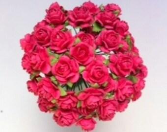 50 Fuchsia Mulberry Paper Roses 15mm (1.5cm)
