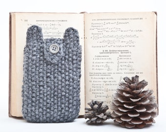 Knitted Galaxy s7 case, iPhone X Case, phone case, samsung galaxy s7 sleeve, gray Samsung Galaxy case, Bear samsung galaxy s5 sleeve