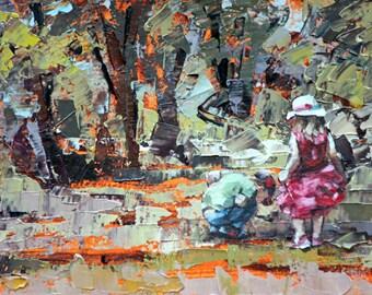 Giclee art print, original art, impressionist oil, painting print, modern impressionist art, palette knife, wall art, 'Childhood Memories'