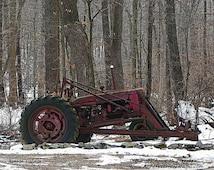 Tractor - Red Tractor - Rusty Tractor - Old Tractor - Farm Art - Color Photograph - Farm Landscape - Winter Landscape - Snow - Country Decor