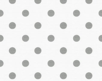 White and Gray Polka Dot Organic Fabric - By The Yard - Polka Dots / Gender Neutral