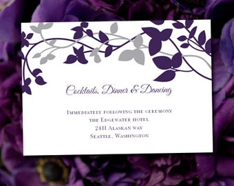 Wedding Reception Invitation Eggplant Silver Forever Entwined
