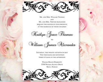 Black White Wedding Invitations Tropical Damask Make Your Own W