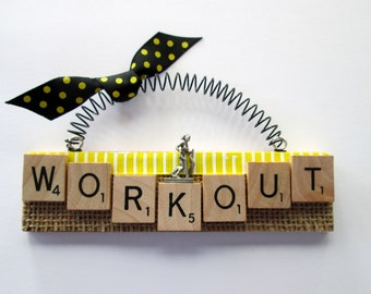 Workout Treadmill Scrabble Tile Ornament