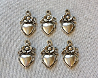 6 heart milagro charms, antique silver heart, flower charms, findings. vintage findings, charms, jewelry making supplies, commercial, craft