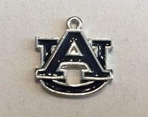 Auburn University Charm (1), Tigers, Antique Silver, Enamel, Single-Sided Charms, Collegiate Logo, College Team Logo