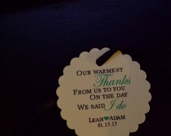 "Personalized Wedding Favor Tags Warmest Thanks 1.5"" Scalloped Round Hang Gift Tag"