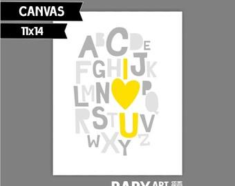 Yellow and grey nursery canvas art print Alphabet, I love you 11x14 ( SP1114004)