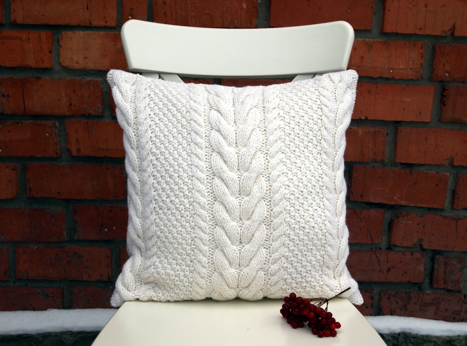 Knitting Pillows : Off white cable knit pillow cover inches cm