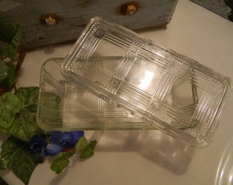Vintage Clear Federal Glass Refrigerator Rectangle Dish and Lid - Criss Cross Pattern