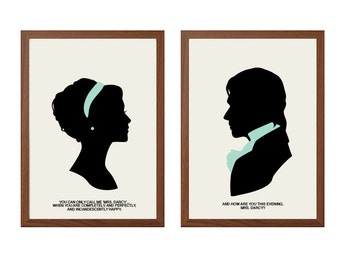 PRIDE AND PREJUDICE| Perfectly Happy Poster :Mr Darcy + Elizabeth Bennet Modern Illustration Retro Art Wall Decor