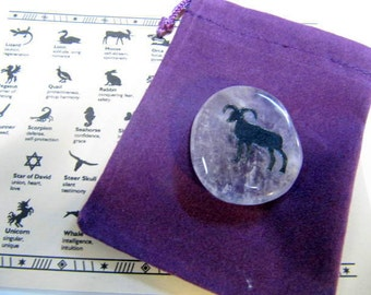 Gemstones, Animals, Ram, Totem Spirit Healing, Stones with Animals and Symbols, Medicine Bag, Spirit Totem, Reiki, Chakra,Feng Shui