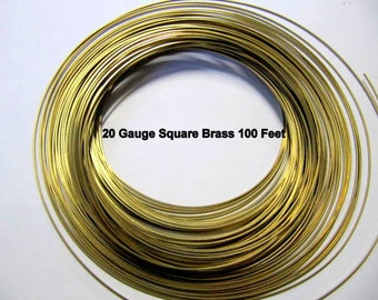 Brass Wire 20 Gauge Square, 100 Feet, Half Hard, Sale, Discounted, Wire Wrapping, Jewelry Wire, Bulk Wire