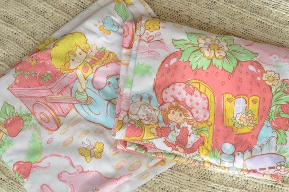 Vintage 80s Strawberry Shortcake Twin Sheet By