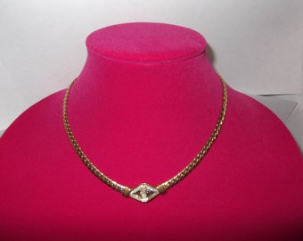 S.A.L. Rhinestone Necklace, Gold color, Stunning