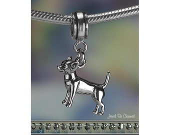 Sterling Silver Chihuahua Charm or European Style Charm Bracelet .925